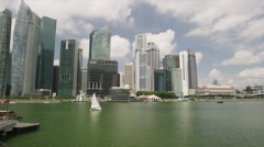 Buildings of Raffles Place and Boat Quay Stock Footage