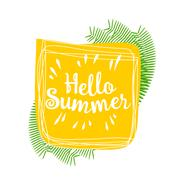 Hello summer. Vector lively hand drawn picture - stock illustration