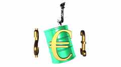Golden currencies rotate around the green barrel of petroleum with black splash Stock Footage