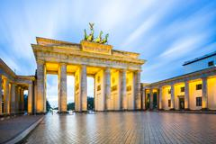 Night at the Brandenburg Gate in Berlin, Germany - stock photo