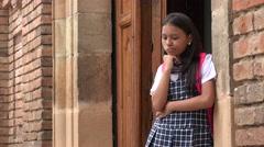 School Girls Hug  Say Hello - stock footage
