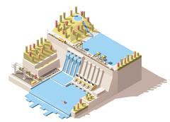 Vector isometric hydro power plant infographic - stock illustration