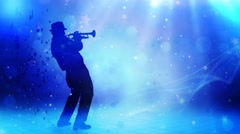 Jazz Horn Player Glitter Notes 4K - stock footage