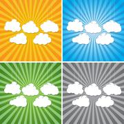 Abstract sun rays with clouds background. - stock illustration