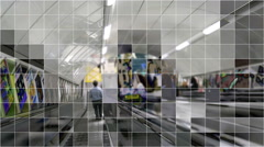 Tube train subway escalator with mosaic grid effect. Stock Footage
