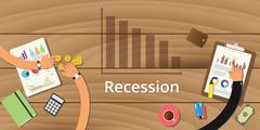 Recession on wooden table team Stock Illustration