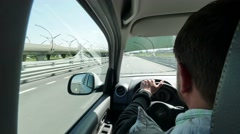 Super stabilized driver's point of view in Highway. POV driver on highway on Stock Footage