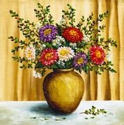 Asters in a clay pot Stock Illustration
