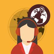 Call center design. Global communication. Flat illustration - stock illustration