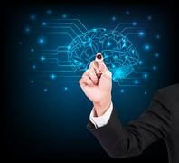 Businessman hand writing and drawing brain on a touch screen interface - stock illustration