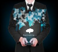 Businessman with modern mobile phone downloading data in his hand Stock Illustration