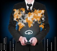 Businessman with modern mobile phone download and upload to cloud data in his Stock Illustration