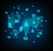 5G technology systems, telecommunications networks worldwide Stock Illustration