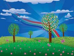 Blooming tree on grass field Stock Illustration