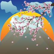 Branch of Sakura and Volcano - stock illustration
