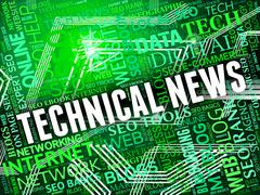 Technical News Showing Multimedia Technologies And Info - stock illustration