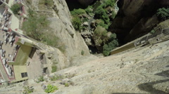 Lookout from the Puente Nuevo at deep chasm in Ronda, Spain Stock Footage