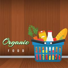 Shopping basket with foods. Fruits and vegetables. Vector flat illustration Stock Illustration