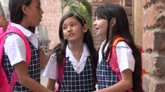 Students Say Farewell At School - stock footage