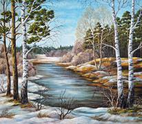 Painting, Landscape, Spring River - stock illustration