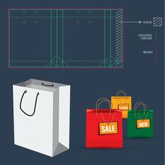 Shopping Bag with Die Cut Layout template - stock illustration