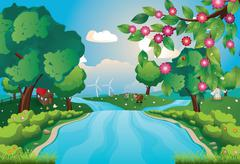 Hills and River - stock illustration