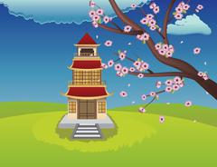 Oriental House and Blooming Sakura Stock Illustration