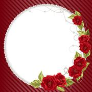 Delicate frame with roses and pearls - stock illustration
