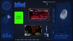 Worldwide - Scanning data - interface morphing - fingerprint searching - blue - stock footage