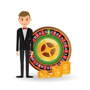 Casino design. Person and Game icon. Isolated illustration Stock Illustration