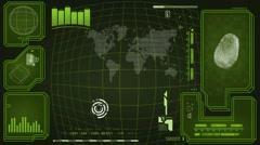 Worldwide - Scanning data - interface morphing - fingerprint searching - gree - stock footage