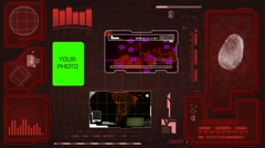 Worldwide - Scanning data - interface morphing - fingerprint searching - red. - stock footage