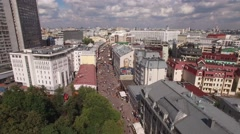 Flight over Arbat Street in Moscow. Most attractive pedestrian street. Sunny day Stock Footage