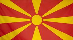 Macedonia Flag real fabric Stock Photos