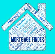 Mortgage Finder Showing Home Loan And Invest Stock Illustration
