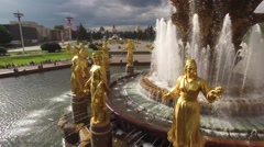 Park VDNKH in Moscow from above. Central fountains close look. Happy people. Uni Stock Footage