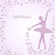 Tender ballerina with flowers - stock illustration