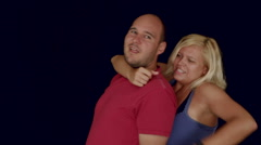 Aggressive couple fighting for fun Stock Footage
