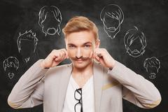Man choose facial hair style, beard and mustache - stock photo