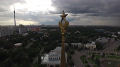 Park VDNKH in Moscow from above. Central walk and fountains. Happy people. Uniqu Stock Footage
