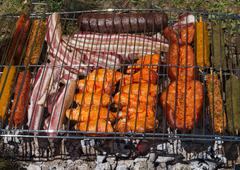 Detail of Meat on Barbecue Stock Photos