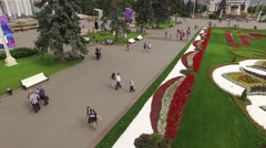Park VDNKH in Moscow from above. Central walk and fountains. Happy people. Uniqu - stock footage