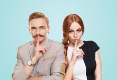 Woman and man, couple keep secret Stock Photos
