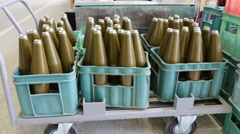Rocket-propelled grenades RPG explosives in boxes. Zoom out. Stock Footage