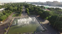 Central Gorky park fountain Aerial flight. Moscow Russia from above. Sunny day,  Stock Footage