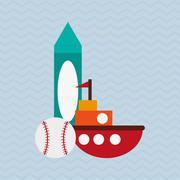 Toy design. Childhood icon. Flat illustration, vector graphic - stock illustration