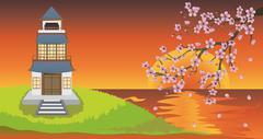 Oriental House and Sakura Stock Illustration