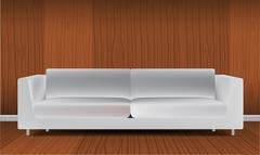 Realistic classic orange sofa isolated on white background vector illustration Stock Illustration