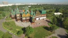 Russian old ancient Kremlin Kolomenskoe. Unique aerial view from above. Close ap Stock Footage