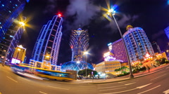 Macau China : Time Lapse Landmark Night Cityscape Casino And Hotels (pan shot) Stock Footage